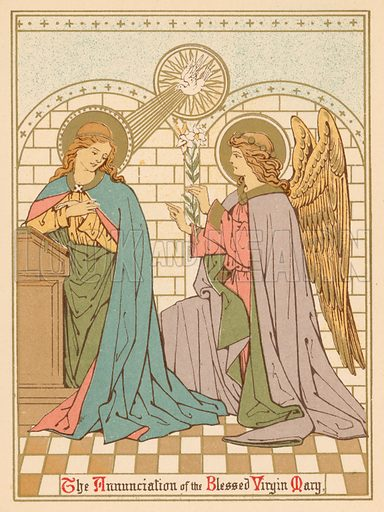 The Annunciation of the Blessed Virgin Mary. Illustration for Red Letter Saints (SPCK, c 1880).