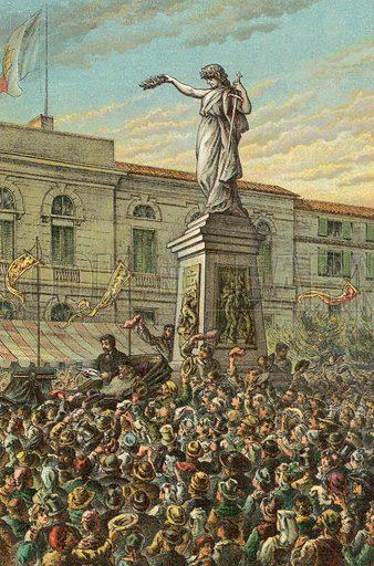 Garibaldi Unveiling the Mentana Memorial at Milan. Illustration for The Life and Times of Garibaldi (Walter Scott, c 1890).