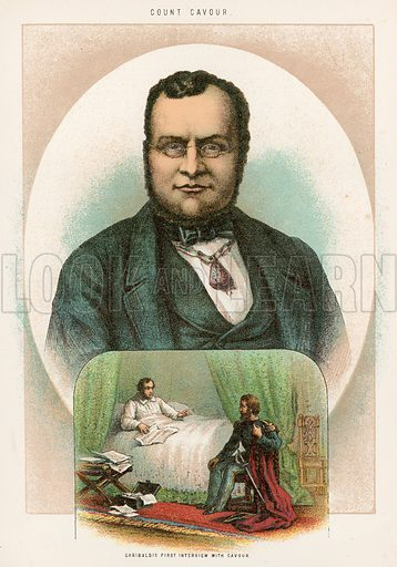 Garibaldi's first Interview with Cavour. Illustration for The Life and Times of Garibaldi (Walter Scott, c 1890).