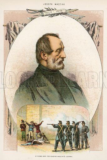 Citizens shot for reading Mazzini's Journal. Illustration for The Life and Times of Garibaldi (Walter Scott, c 1890).