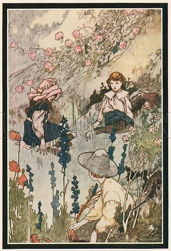 """He would Lie on the Grass """"Watching things Growing"""". Illustration for The Secret Garden by Frances Hodgson Burnett (Heinemann, c 1910)."""