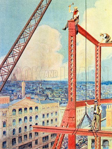 Erecting the Girders of a New Store. Illustration for The Brave Deeds Picture Book (Ward Lock, c 1935).