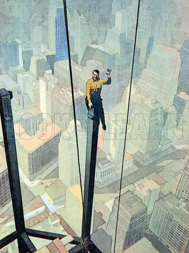 A Workman on a Dizzy Perch, High up above New York. Illustration for The Brave Deeds Picture Book (Ward Lock, c 1935).