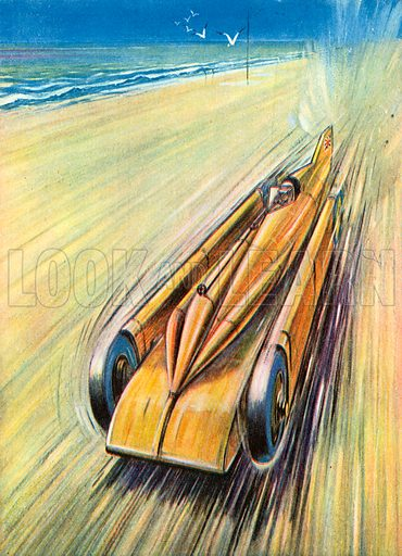 """A Racing Car """"All Out."""" Illustration for The Brave Deeds Picture Book (Ward Lock, c 1935)."""