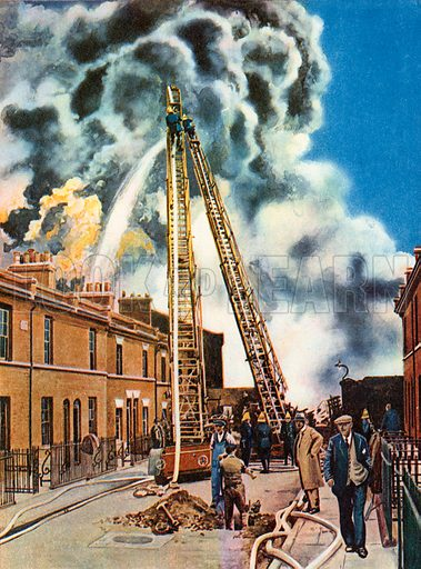 A Big Blaze. Illustration for The Brave Deeds Picture Book (Ward Lock, c 1935).