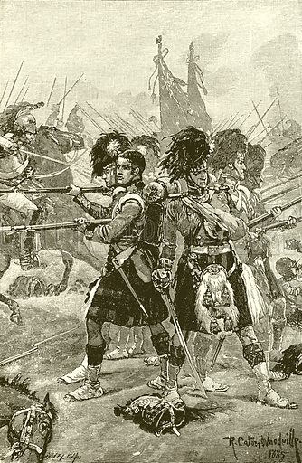 The Forty-Second Highlanders at Quatre Bras. Illustration for Battles of the British Army (George Routledge, c 1900).