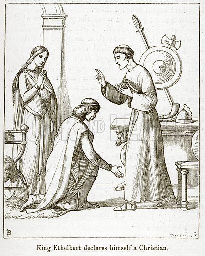 King Ethelbert declares himself a Christian. Illustration for Little Arthur's History of England by Lady Callcott (John Murray, 1888).