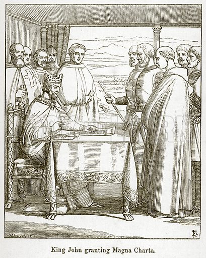 King John granting Magna Charta. Illustration for Little Arthur's History of England by Lady Callcott (John Murray, 1888).