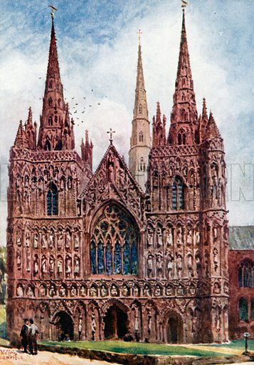 Lichfield, the West Front. Illustration for Cathedral Cities of England by George Gilbert (Dodd, Mead and Co, 1905).