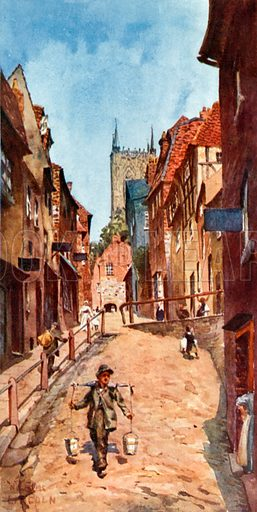 Lincoln, the Steep Hill. Illustration for Cathedral Cities of England by George Gilbert (Dodd, Mead and Co, 1905).