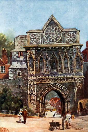 Norwich, the Aethelbert Gate. Illustration for Cathedral Cities of England by George Gilbert (Dodd, Mead and Co, 1905).