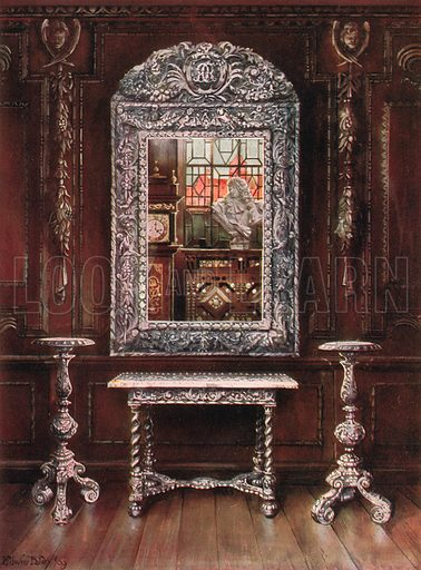 Mirror, Gueridons, and Table Overlaid with Silver Plaques. Illustration for The Book of Decorative Furniture by Edwin Foley (Jack, 1910).