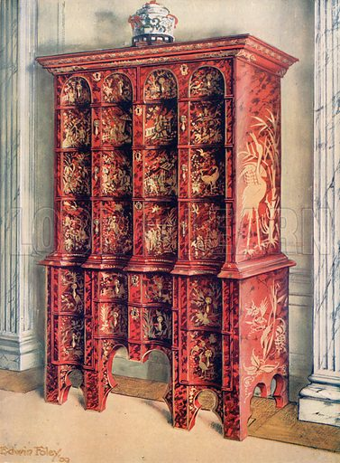 Red and Gilt Lacquer Double Chest of Drawers. Illustration for The Book of Decorative Furniture by Edwin Foley (Jack, 1910).