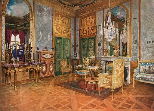 Salon de Musique of Queen Marie Antoinette, Palace of Fontainebleau, France. Carved and Gilt Console. Gilt Settee in Beauvais Tapestry. Table, Ormolu Mounted and with Sevres Plaques. Marqueterie Cabinet, Ormolu Mounted and with Sevres Plaques. Carved Gilt Chairs. Illustration for The Book of Decorative Furniture by Edwin Foley (Jack, 1910).