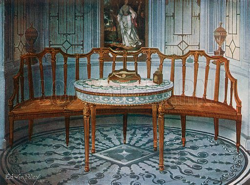 Carved Satinwood Barback Settee. Painted and Gilt Table. Illustration for The Book of Decorative Furniture by Edwin Foley (Jack, 1910).