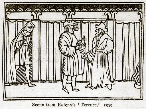 Scene from Roigny's 'Terence.' 1539. Illustration for A Cyclopaedia of Costume or Dictionary of Dress by James Planche (Chatto and Windus, 1879).