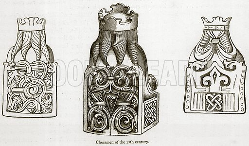 Chessmen of the 12th Century. Illustration for A Cyclopaedia of Costume or Dictionary of Dress by James Planche (Chatto and Windus, 1879).