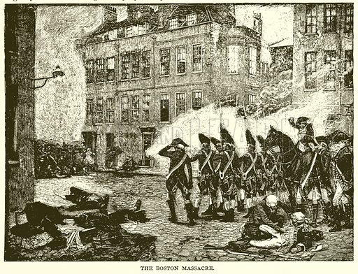 The Boston Massacre. Illustration for Footprints of the World's History by William Bryan (Historical Publishing, 1891).