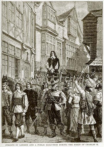 Streets of London and a Public Execution during the Reign of Charles II. Illustration for Footprints of the World's History by William Bryan (Historical Publishing, 1891).