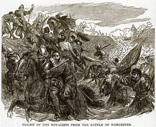Flight of the Royalists from the Battle of Worcester. Illustration for Footprints of the World's History by William Bryan (Historical Publishing, 1891).