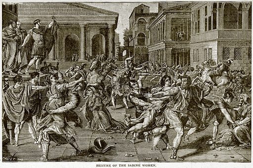Seizure of the Sabine Women. Illustration for Footprints of the World's History by William Bryan (Historical Publishing, 1891).