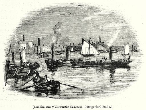 London and Westminster Steamers--Hungerford Stairs. London edited by Charles Knight (Virtue, c 1880).