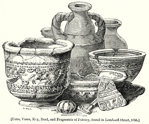 Urns, Vases, Key, Bead, and Fragments of Pottery, found in Lombard Street, 1785. London edited by Charles Knight (Virtue, c 1880).