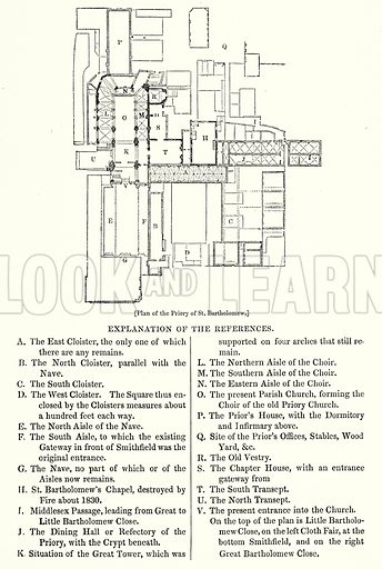 Plan of the Priory of St. Bartholomew. London edited by Charles Knight (Virtue, c 1880).