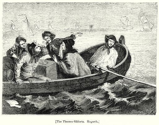 The Thames Gibbets. Hogarth. London edited by Charles Knight (Virtue, c 1880).