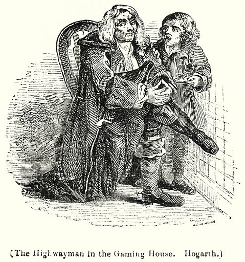 The High Wayman in the Gaming House. Hogarth. London edited by Charles Knight (Virtue, c 1880).