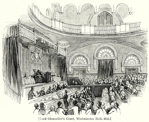 Lord Chancellor's Court, Westminster Hall, 1843. London edited by Charles Knight (Virtue, c 1880).