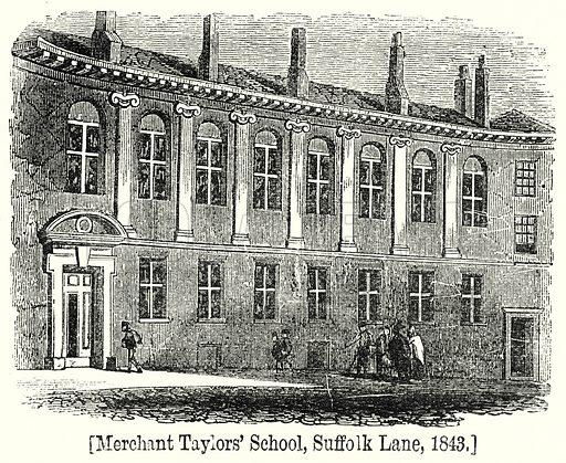 Merchant Taylor's School, Suffolk Lane, 1843. London edited by Charles Knight (Virtue, c 1880).