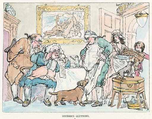 Studious Gluttons. Illustration for Rowlandson the Caricaturist by Joseph Grego (Chatto and Windus, 1880).  Illustrations sometimes with contemporary hand colouring.