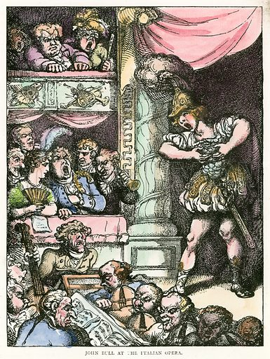 John Bull at the Italian Opera. Illustration for Rowlandson the Caricaturist by Joseph Grego (Chatto and Windus, 1880).  Illustrations sometime with contemporary hand colouring.