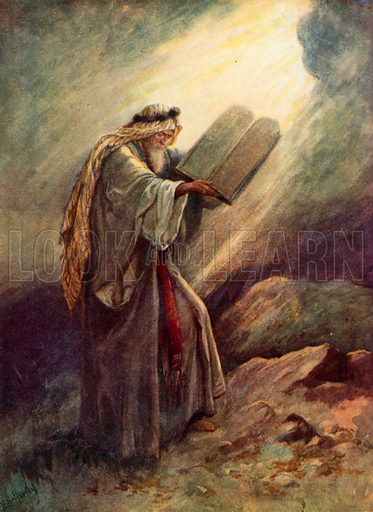 Moses with the Tables of Stone. Illustration for Stories from the Old Testament ( AB Shaw, c 1910).