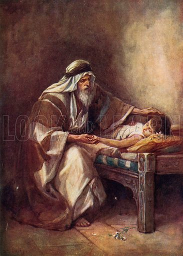 Elisha Raising the Farmer's Son. Illustration for Stories from the Old Testament ( AB Shaw, c 1910).