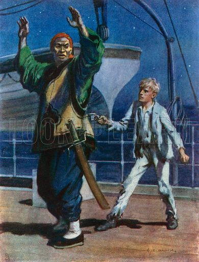 """If I keep the Pistol like this it will be sure to go off if you try any Tricks."" Illustration for Tales that Thrill (Raphael Tuck, c 1910)."