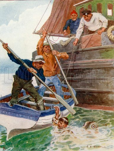 """""""The Two Men in the Boat began Frantically to Beat and Dig at a Loathsome Object."""" Illustration for Tales that Thrill (Raphael Tuck, c 1910)."""