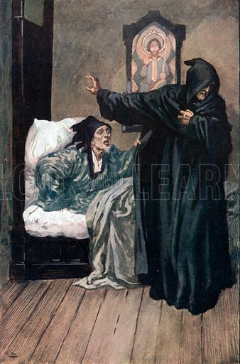 'Oh, Holy Man, Mercy!' Illustration for The Cloister and the Hearth by Charles Reade (Chambers, c 1910).