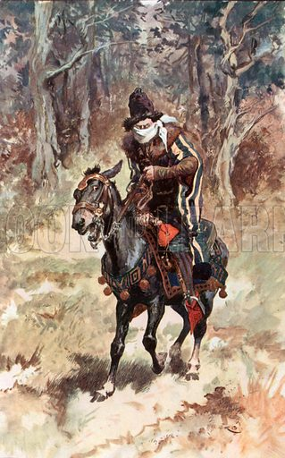 Ghysbrecht Van Swieten seated on his Mule. Illustration for The Cloister and the Hearth by Charles Reade (Chambers, c 1910).