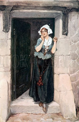 The Habitual Expression of her Face was a Sweet Pensiveness. Illustration for The Cloister and the Hearth by Charles Reade (Chambers, c 1910).