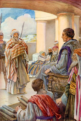"""""""I appeal unto Caesar!"""" Illustration for The Precious Gift: Bible Stories for Children by TW Wilson (Blackie, c 1910)."""