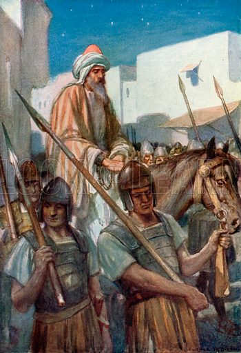 The Roman Soldiers take Paul by Night from Jerusalem. Illustration for The Precious Gift: Bible Stories for Children by TW Wilson (Blackie, c 1910).