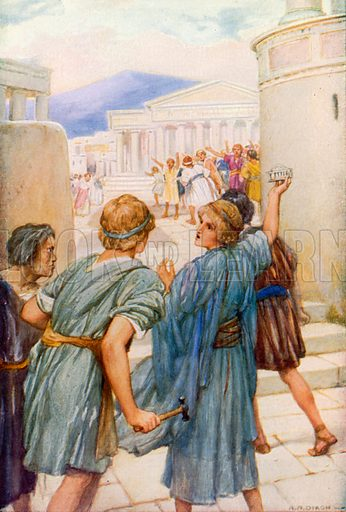 The Riot at Ephesus. Illustration for The Precious Gift: Bible Stories for Children by TW Wilson (Blackie, c 1910).