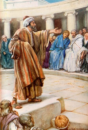 Paul Preaching at Athens. Illustration for The Precious Gift: Bible Stories for Children by TW Wilson (Blackie, c 1910).