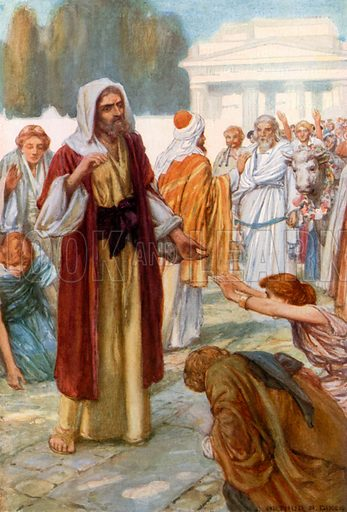 The People of Lystra Worship Paul and Barnabas. Illustration for The Precious Gift: Bible Stories for Children by TW Wilson (Blackie, c 1910).