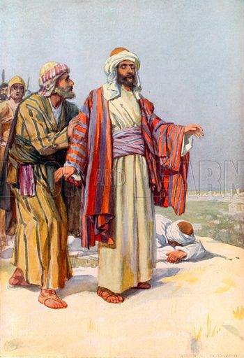 Saul is Struck Blind on the Road to Damascus. Illustration for The Precious Gift: Bible Stories for Children by TW Wilson (Blackie, c 1910).