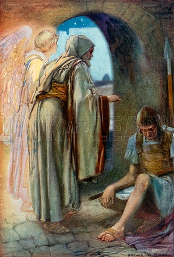 The Angel Sets Peter Free. Illustration for The Precious Gift: Bible Stories for Children by TW Wilson (Blackie, c 1910).