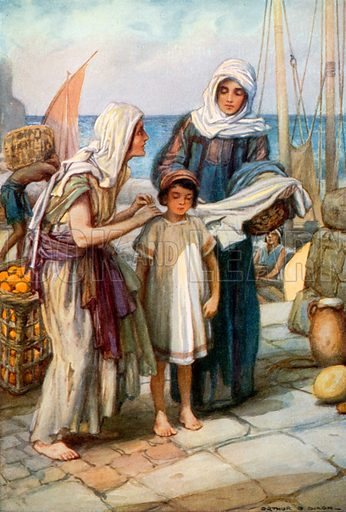Dorcas giving Help to a Poor Widow at Joppa. Illustration for The Precious Gift: Bible Stories for Children by TW Wilson (Blackie, c 1910).