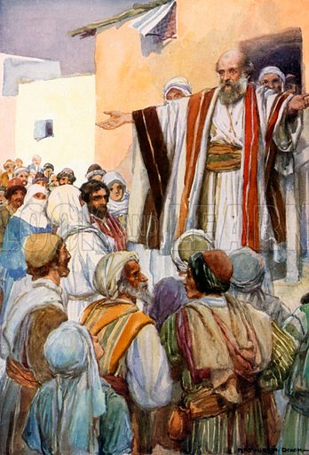 Peter Preaches to the Jews at Pentecost. Illustration for The Precious Gift: Bible Stories for Children by TW Wilson (Blackie, c 1910).